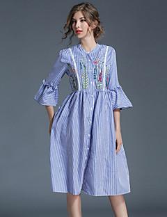 Damer Vintage Gade Sofistikerede Fest I-byen-tøj Afslappet/Hverdag A-linje Kjole Trykt mønster,Rund hals Over knæet 3/4-ærmer Polyester