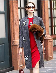 Feminino Casaco Casual Sofisticado Inverno,Sólido Estampado Padrão Lã Colarinho Chinês Manga Longa