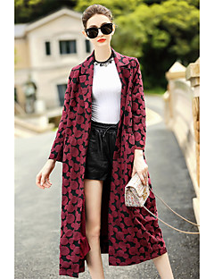 Feminino Casaco Longo Casual Simples Outono,Sólido Estampado Longo Algodão Poliéster Colarinho de Camisa Manga Longa