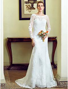 מעטפת \ עמוד עם תכשיטים שובל קורט תחרה סאטן שמלת חתונה עם אפליקציות סרט פפיון כפתור על ידי LAN TING BRIDE®