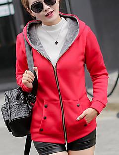 Damen Kapuzenshirt Lässig/Alltäglich Einfach Solide Mikro-elastisch Baumwolle Lange Ärmel Herbst Winter