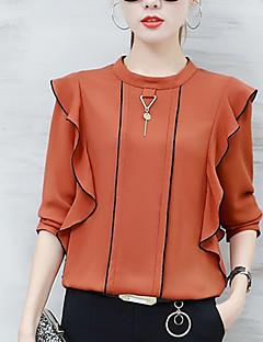 Damen Solide Einfach Street Schick Ausgehen Lässig/Alltäglich Bluse,Rundhalsausschnitt Herbst Langarm Polyester Dünn