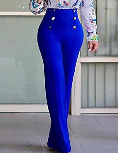 レディース ストリートファッション ハイライズ ブーッカット マイクロエラスティック チノパン パンツ ソリッド