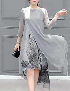 Damen Hülle Kleid-Ausgehen Übergröße Einfach Druck Rundhalsausschnitt Maxi 3/4 Ärmel Kunstseide Sommer Mittlere Hüfthöhe Unelastisch