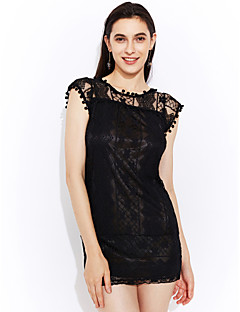 Women's Going out Sexy Sophisticated Shift Lace Dress,Solid Round Neck Mini Short Sleeves Polyester Nylon Spandex Summer Mid Rise