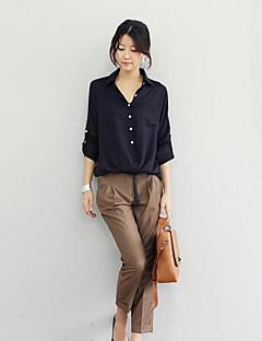 Damen Solide Einfach Lässig/Alltäglich Hemd,Hemdkragen Langarm Baumwolle