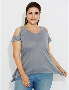 Mulheres Camiseta Casual Simples Verão,Sólido Vermelho / Preto / Cinza / Verde Algodão Decote Redondo / Ombro a Ombro Manga Curta Opaca