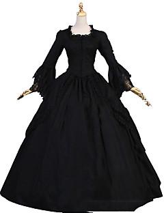 Yksiosainen/Mekot Gothic Lolita Lolita Cosplay Lolita-mekot Musta Vintage Holkki Pitkähihainen Täysipitkä Leninki varten Muuta
