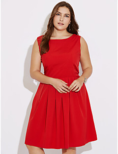 Women's Party Going out Plus Size Vintage A Line Dress,Solid Round Neck Knee-length Sleeveless Polyester Summer High Rise Micro-elastic