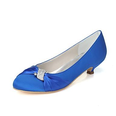 13949602dfd8 Dámské Satén Jaro   Léto Lodičky Svatební obuv Nízký tenký Oblá špička  Štras Fialová   Modrá   Světle hnědá   Party