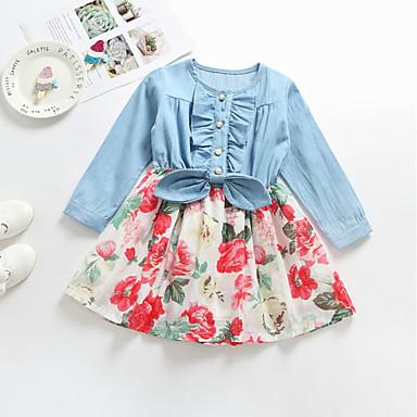 cf4b8057663 Χαμηλού Κόστους Ρούχα για Κορίτσια-Παιδιά Κοριτσίστικα Βασικό Καθημερινά  Μονόχρωμο Μακρυμάνικο Φόρεμα Ουράνιο Τόξο