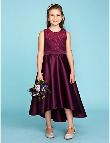 12e2f3c96 cheap Junior Bridesmaid Dresses-A-Line / Princess Jewel Neck Asymmetrical  Lace / Satin
