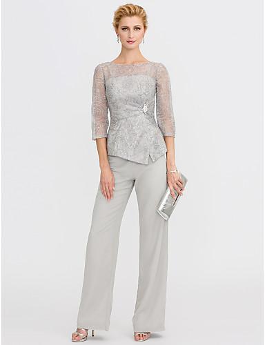 592765a93855 Παντελόνια Illusion Seckline Μακρύ Σιφόν   Δαντέλα γκλίτερ Φόρεμα Μητέρας  της Νύφης με Πούλιες   Δαντέλα με LAN TING BRIDE®   Ψευδαίσθηση   See  Through