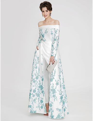 87d3a08a46cb Ολόσωμη φόρμα Ώμοι Έξω Μακρύ Σατέν Μπλοκ χρωμάτων Χοροεσπερίδα   Επίσημο  Βραδινό Φόρεμα με Σχέδιο   Στάμπα   Με Άνοιγμα Μπροστά με TS Couture®