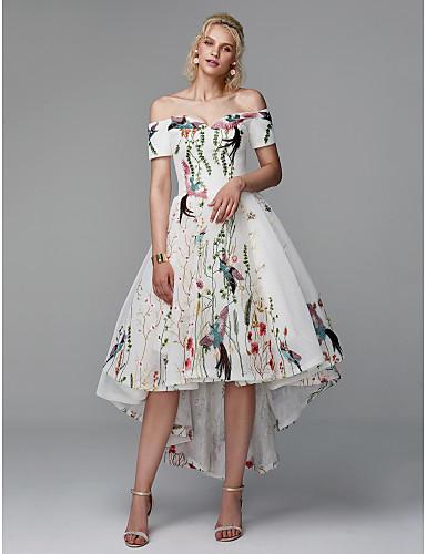 733acb43c852 Plesové šaty Pod rameny Asymetrické Polyester Vysoký nízký Koktejlový  večírek   Maturitní ples Šaty s Výšivka podle TS Couture®