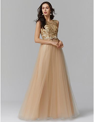 1f8360639dc6 Linea-A Con decorazione gioiello Lungo Tulle Brillante e glitterato Serata  formale Vestito con Con applique   Fiocco (fiocchi) di TS Couture®