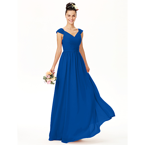 0b38d19c022e A-Line V Neck Floor Length Chiffon Bridesmaid Dress with Bow(s) Lace