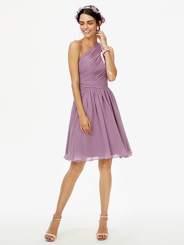 c8600ef7c2b1 A-Line One Shoulder Knee Length Chiffon Bridesmaid Dress with Bow(s) Sash / Ribbon  Pleats Side Draping by LAN TING BRIDE®