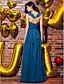 A-linja V-aukko Nilkkapituinen Georgette-sifonki Tanssiaiset Muodollinen iltajuhla Mekko kanssa Laskokset mennessä TS Couture®