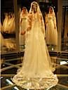 Voal de Nuntă Un nivel Voaluri de Catedrală Margine cu Aplicație de Dantelă Tul Dantelă Ivoriu