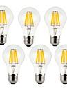 7w e26 / e27 ampoules filament a60 (a19) 8cob 760lm chaud blanc / blanc froid 220-240 v 6 pcs