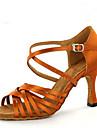 Chaussures de danse(Marron) -Personnalisables-Talon Personnalise-Satin-Latines Jazz Salsa Chaussures de Swing