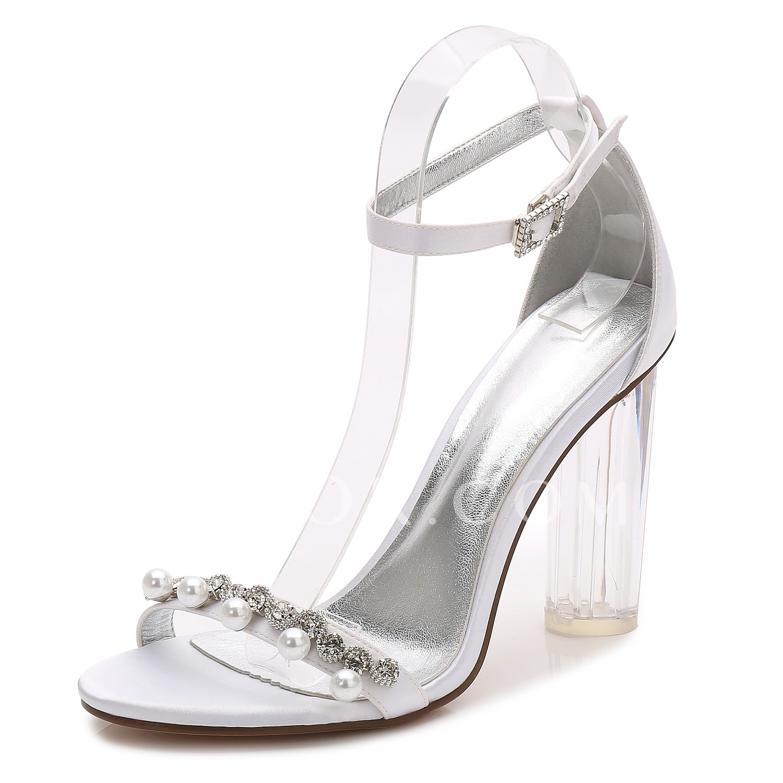 separation shoes d5f20 2f8a4 [$44.99] ADOR® Damen Schuhe Satin Frühling / Sommer Pumps / Knöchelriemen /  Transparente Schuh Hochzeit Schuhe Blockabsatz / Durchsichtige Absätze /