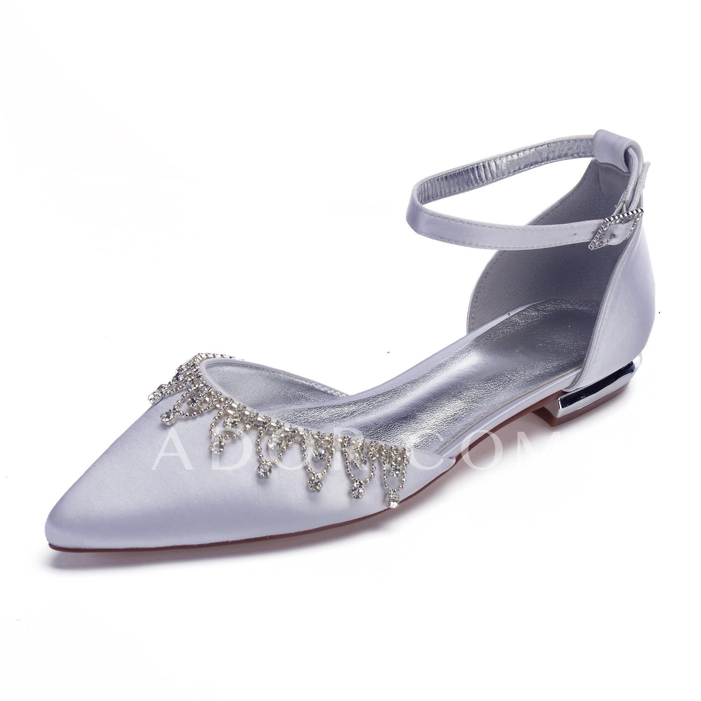 ADOR® Women s Comfort Shoes Satin Spring   Summer Sweet Wedding Shoes Flat  Heel 663696146707