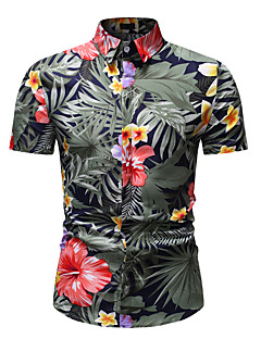 cheap -Men's Shirt Floral Graphic Print Short Sleeve Athleisure Tops Basic Streetwear Classic Collar Rainbow / Beach