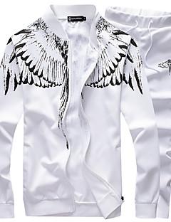 cheap -Men's 2 Piece Tracksuit Sweatsuit Jogging Suit Casual Winter Breathable Running Walking Jogging Sportswear Phoenix Plus Size White Black Dark Blue Gray Activewear Micro-elastic