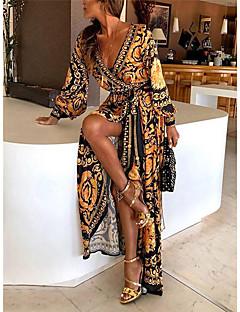 cheap -Women's Maxi long Dress Swing Dress Yellow Long Sleeve Split Print Print Geometic V Neck Fall Winter Holiday Going out Beach Classic & Timeless Hot Boho 2021 Regular Fit S M L XL XXL