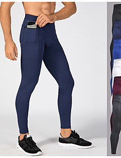 cheap -YUERLIAN Men's Running Tights Leggings Compression Pants Athletic Tights Leggings with Phone Pocket Elastane Winter Fitness Gym Workout Running Breathable Quick Dry Moisture Wicking Sport Solid