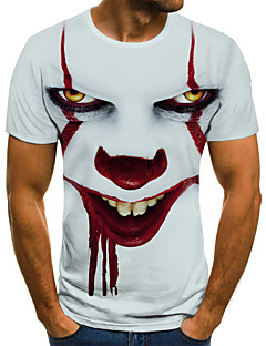 cheap -Men's Tee T shirt Shirt 3D Print Graphic Tribal 3D Print Short Sleeve Halloween Tops Streetwear Punk & Gothic Round Neck White