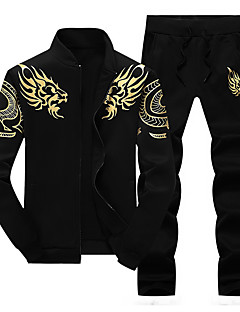 cheap -Men's 2 Piece Embroidered Tracksuit Sweatsuit Jogging Suit Casual Winter Long Sleeve Thermal Warm Windproof Soft Running Walking Jogging Sportswear Dragon Plus Size Jacket Track pants Black Blue Gray