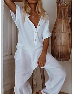 cheap -Women's White Black Navy Blue Jumpsuit Solid Color / Wide Leg