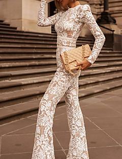 cheap -Women's Basic Party Wedding Street Crew Neck 2021 White Black Jumpsuit Geometric Lace Fashion / Wide Leg / Holiday