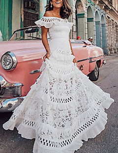 cheap -Women's A Line Dress Maxi long Dress White Short Sleeve Solid Color Ruffle Spring Summer Off Shoulder Party Hot Holiday Holiday Beach 2021 S M L XL / Lace