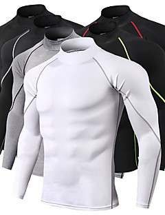 cheap -JACK CORDEE Men's Long Sleeve High Neck Compression Shirt Running Shirt Running Base Layer Stripe-Trim Reflective Strip Top Athletic Winter Moisture Wicking Breathable Soft Running Active Training