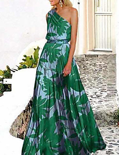 cheap -Women's Swing Dress Maxi long Dress Green Rose Red Sleeveless Print Trees / Leaves Cold Shoulder Spring & Summer One Shoulder Hot Holiday Holiday Beach 2021 S M L XL XXL