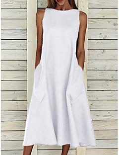 cheap -Women's A Line Dress Midi Dress Blue Yellow Gray White Sleeveless Solid Color Pocket Summer Round Neck Basic Chic & Modern Hot Holiday Loose 2021 S M L XL XXL