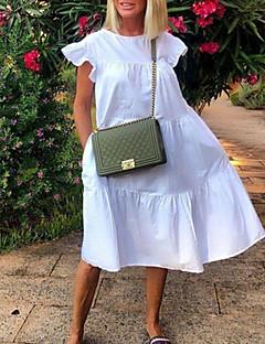 cheap -Women's Short Mini Dress Shift Dress Blue Blushing Pink Fuchsia Green White Black Red Short Sleeve Solid Color Round Neck Hot Loose S M L XL XXL