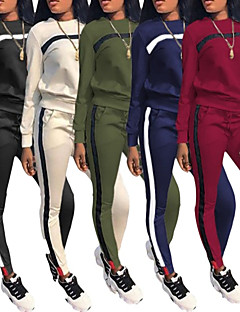 cheap -Women's 2 Piece Patchwork Street Casual Tracksuit Sweatsuit Jogging Suit Long Sleeve Winter Lightweight Breathable Soft Fitness Gym Workout Running Jogging Exercise Sportswear Color Block Sweatshirt