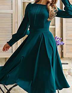 cheap -Women's Knee Length Dress A Line Dress Green Long Sleeve Ruched Pleated Patchwork Solid Color Round Neck Spring Summer Hot Casual Lantern Sleeve 2021 Loose S M L XL XXL
