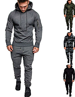 cheap -Men's 2 Piece Tracksuit Sweatsuit Street Casual Long Sleeve Cotton Thermal Warm Moisture Wicking Breathable Fitness Gym Workout Running Active Training Jogging Sportswear Hoodie Dark Grey Camouflage