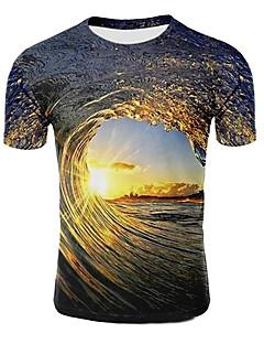cheap -Men's T shirt Galaxy Graphic 3D Plus Size Print Short Sleeve Casual Tops Light Purple Light Brown Dark Green