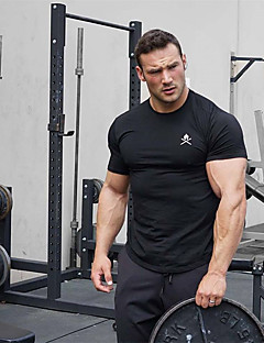 cheap -Men's Short Sleeve Workout Tops Running Shirt Tee Tshirt Top Athleisure Summer Cotton Breathable Soft Sweat Out Fitness Gym Workout Performance Running Training Sportswear Black Red Army Green Blue