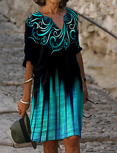 cheap -Women's Shift Dress Knee Length Dress Blue Half Sleeve Floral Tie Dye Print Summer V Neck Casual Loose 2021 M L XL XXL 3XL