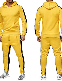 cheap -Men's 2 Piece Patchwork Tracksuit Sweatsuit Street Athleisure 2pcs Winter Long Sleeve Thermal Warm Moisture Wicking Breathable Fitness Gym Workout Running Jogging Training Sportswear Normal Hoodie