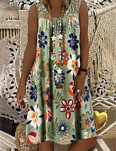 cheap -Women's Shift Dress Knee Length Dress Army Green Fuchsia White Black Navy Blue Sleeveless Floral Print Summer Round Neck Hot Mumu Beach vacation dresses Loose 2021 M L XL XXL 3XL 4XL 5XL / Plus Size