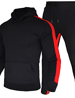 cheap -Men's 2 Piece Tracksuit Sweatsuit Street Casual 2pcs Winter Long Sleeve Thermal Warm Moisture Wicking Breathable Fitness Gym Workout Running Jogging Training Sportswear Stripes Normal Hoodie White